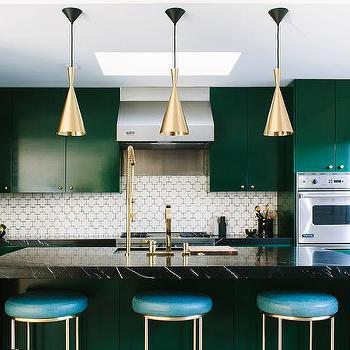 Emerald Green and Black Kitchen Design