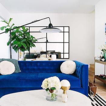 Living rooms black leather bar stools design ideas for Cobalt blue living room