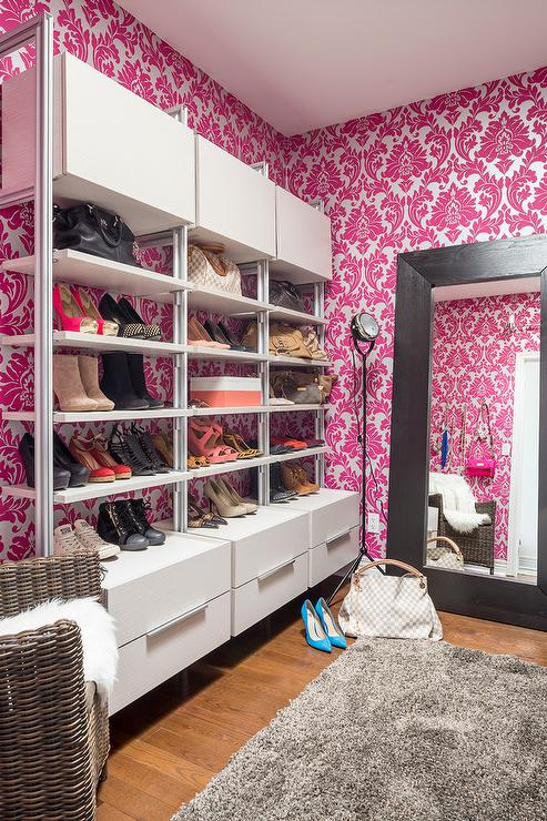 Hot pink majestic damask closet wallpaper