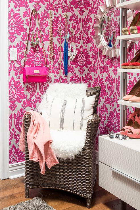 Pink Walk In Closet With Wall Jewelry Hooks Contemporary
