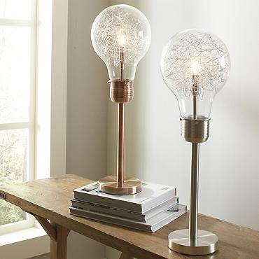 Table Lamp in Bushed Chrome or Brushed Copper