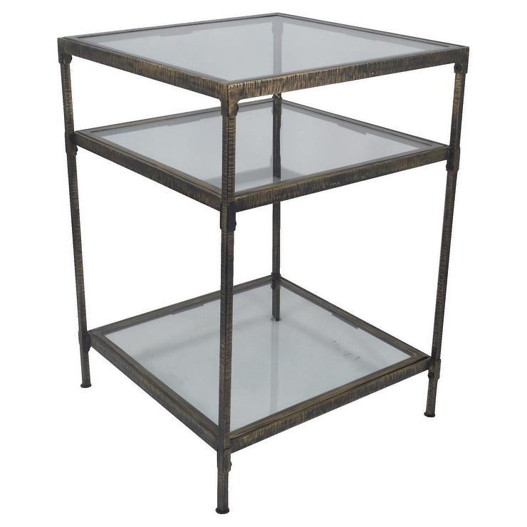 Threshold Square Bronze Metal And Glass Accent Table