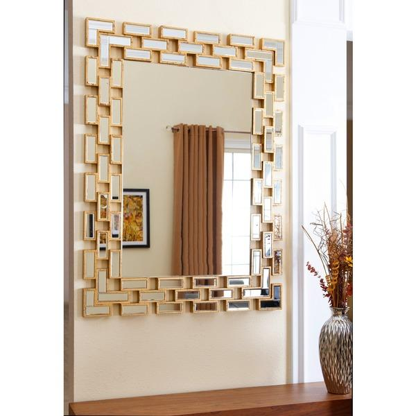 Abbyson living alexis rectangle wall mirror in gold for Decorative mirrors for less