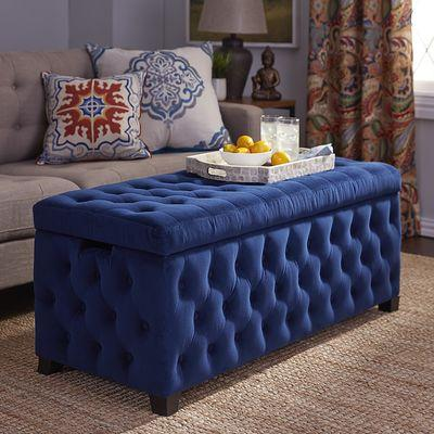 Splendor Storage Blue Tufted Bench