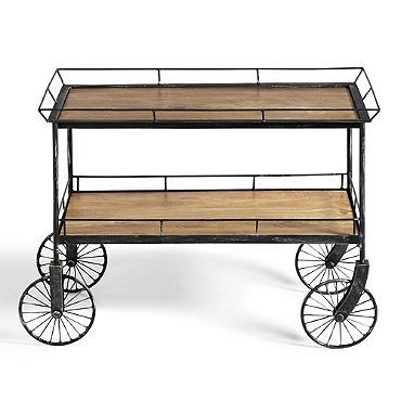 Trolley Cart Table In Brown And Black