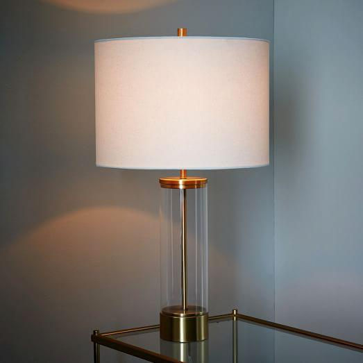 Column table lamp in clear and brass acrylic column table lamp in clear and brass aloadofball Choice Image