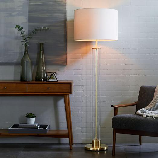 Acrylic Column Floor Lamp in Antique Brass - Column Floor Lamp In Antique Brass