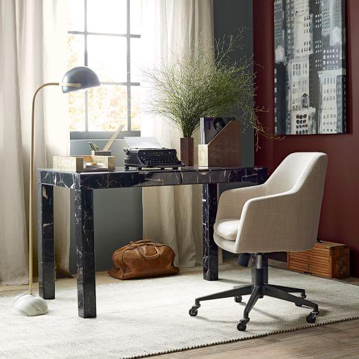 Parsons Desk Black Marble Decoupage