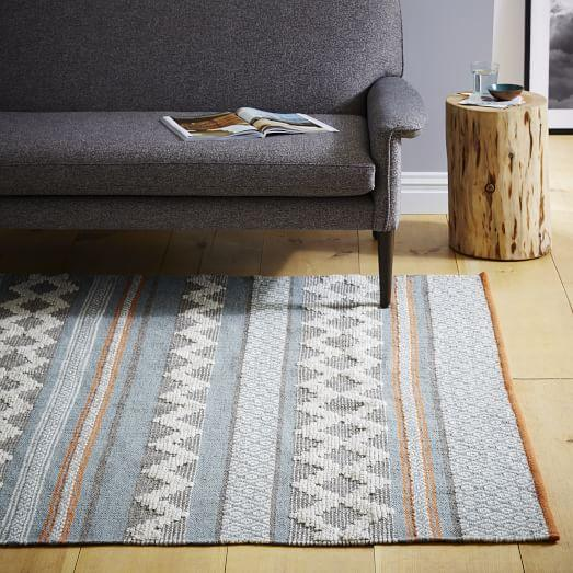 Heirloom Wool Rug in Blue and Grey and Orange