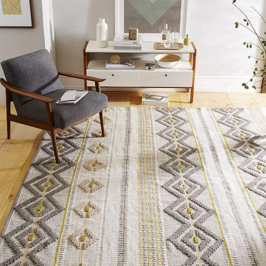 intarsia wool rug in gray and yellow
