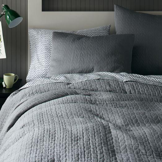 Organic Braided Matelasse Duvet Cover And Shams In Gray