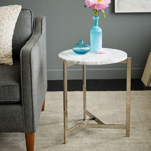 Overlapping V Side Table In Silver