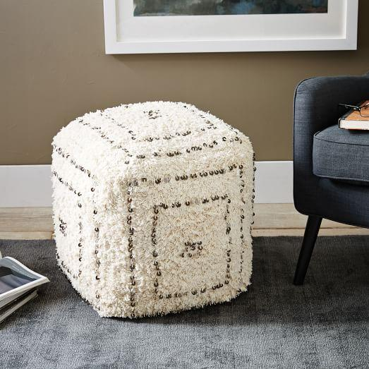 Shaggy Sequin Cube Pouf In Cream