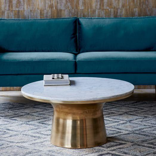 Marble Coffee Table With Copper Legs: Marble Top Brass Metal Drum Coffee Table