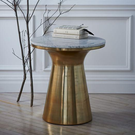 Marble Topped Pedestal Side Table In Brass