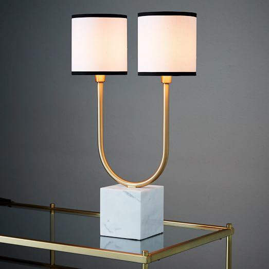 Two Light Marble Table Lamp In Gold