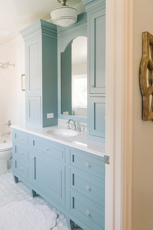 Cornflower Blue Vanity Cabinets Cottage Bathroom