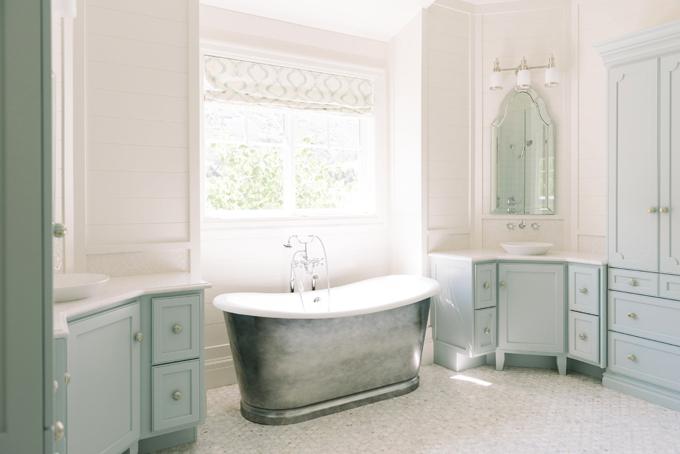 master bathroom with corner washstands transitional bathroom benjamin moore woodlawn blue. Black Bedroom Furniture Sets. Home Design Ideas