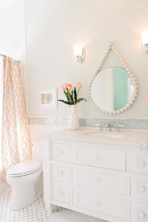 Blue Oval Mosaic Tile Backsplash - Cottage - Bathroom
