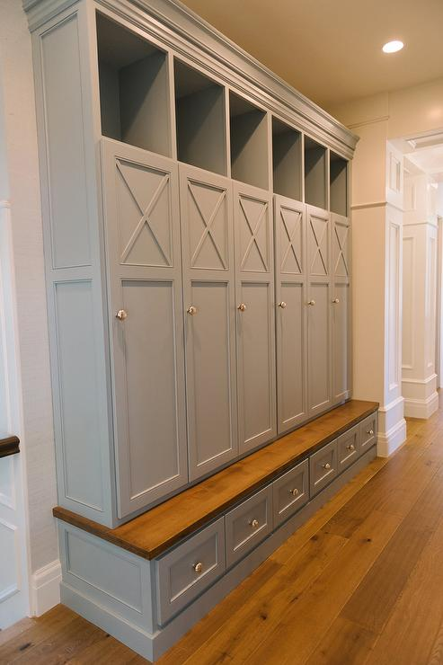 gray mudroom lockers with bench transitional laundry room