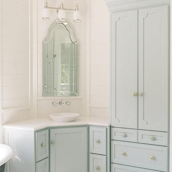 Blue Corner Bathroom Vanity With Allen And Roth Hovan Arch Frameless Mirror