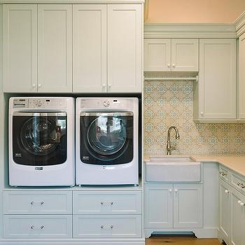 built in washer dryer platform contemporary laundry room stonewood llc. Black Bedroom Furniture Sets. Home Design Ideas