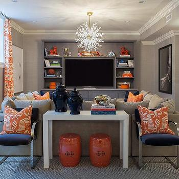 Orange And Navy Sectional Pillows Design Ideas