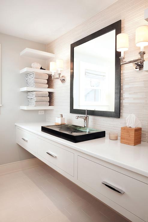 Lovely Wall To Wall Floating Bathroom Vanity