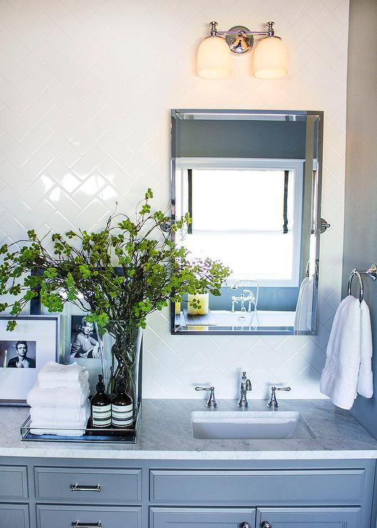 White subway tile backsplash in a herringbone pattern transitional bathroom - Bathroom subway tile backsplash ...