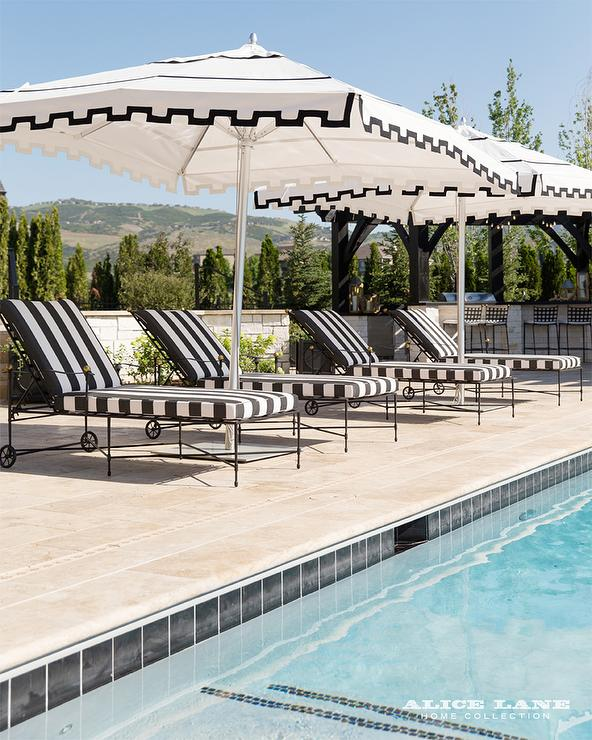 Black And White Stripe Pool Lounger With Canopy