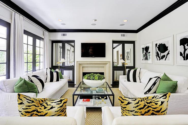 Black And White Living Room Features White Walls Accented With Black Crown  Moldings Fitted With A Row Of Black French Doors Dressed In White Curtains. Part 37
