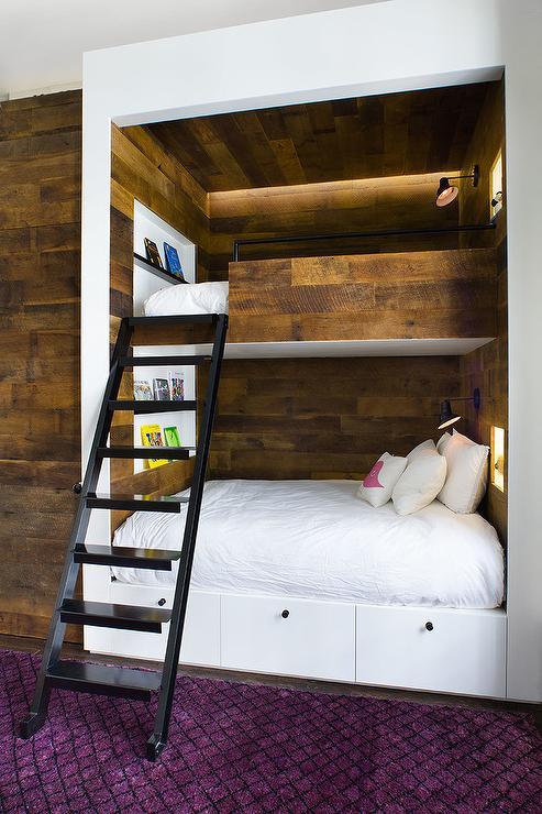Built In Plank Bunk Beds Modern Boy S Room