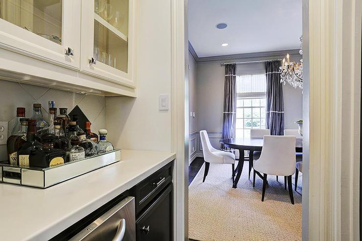 Two Tone Kitchen With White Upper Cabinets And Gray Lower