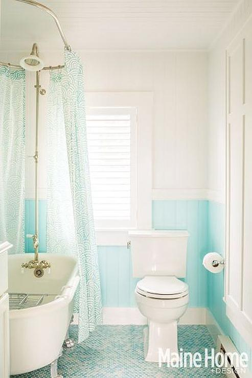 Shower with white and turquoise tiles design ideas for Turquoise bathroom decor