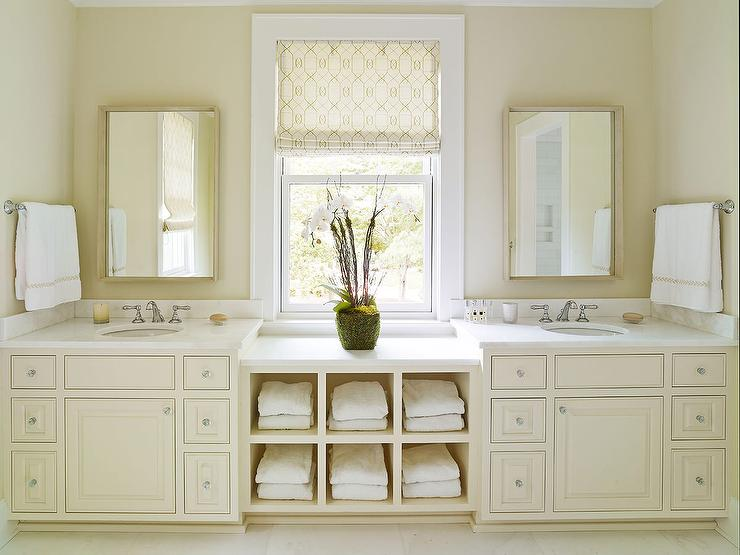 Cream bathroom vanity with white marble countertop for His and hers bathroom