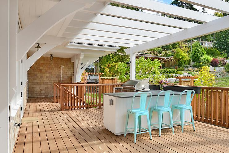 Second floor balcony with pergola cottage deck patio for Garden decking features