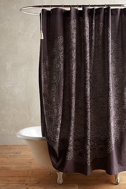 Eastern Emblem Shower Curtain in Dark Grey Scroll Medallion