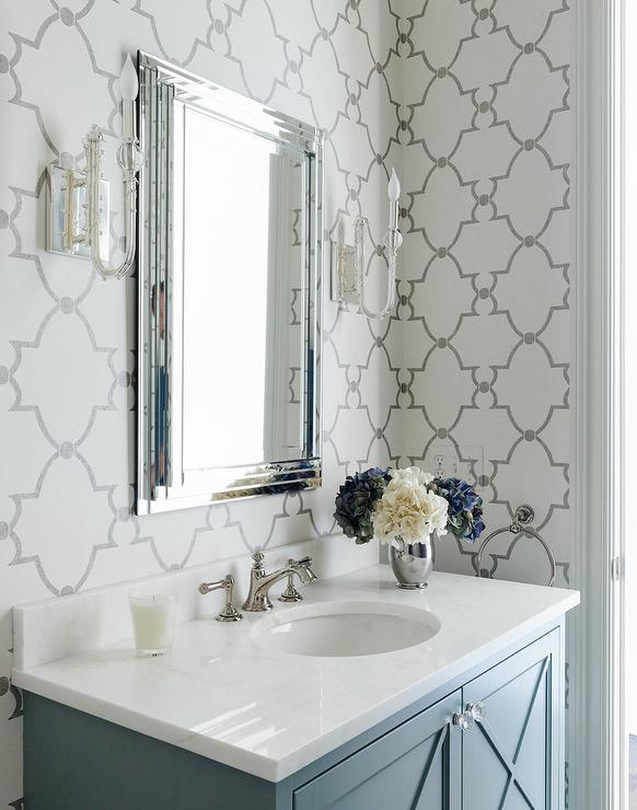 Gray bathroom with quatrefoil wallpaper transitional for Gray bathroom wallpaper