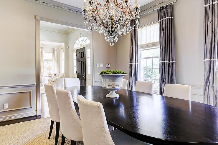 Gray dining room with purple curtains transitional for Dining room drapes