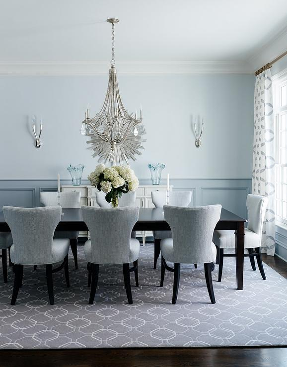 Grey And Blue Dining Room Wainscoting Dark Stained Dining