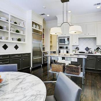 White upper cabinets black lower cabinets contemporary for Black lower kitchen cabinets