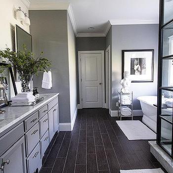 Master Bathroom With Gray Herringbone Wall Tiles