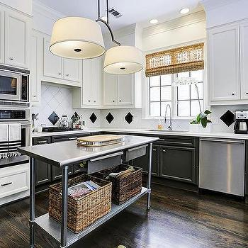 tuxedo cabinets with white uppers and black lowers  transitional,