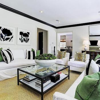 White And Black Living Room With Emerald Green Accents