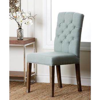 Abbyson Living Colin Blue Linen Tufted Dining Chair