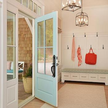 Hooks over mudroom bench design ideas
