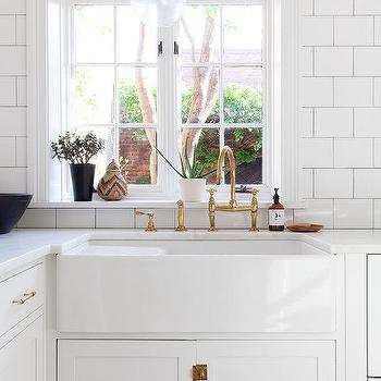White Kitchen Cabinets With Vintage Brass Latch Hardware