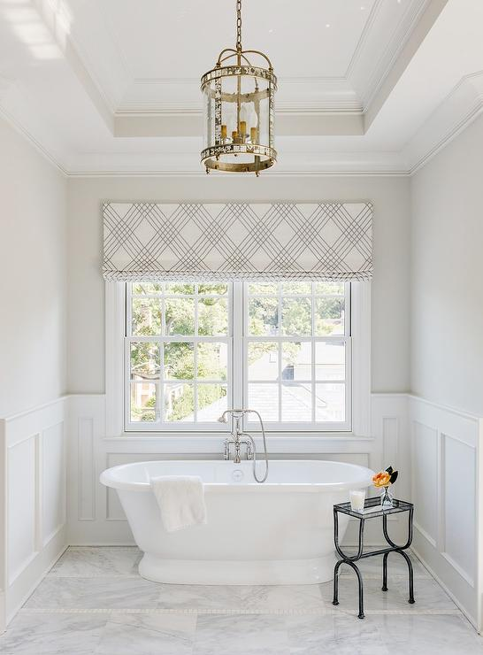 Bathroom with Round Mirrored Lantern Over Tub - Transitional - Bathroom