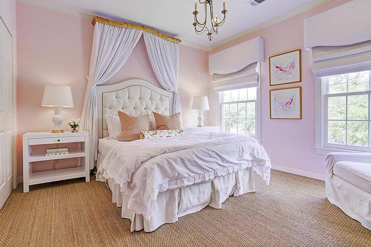 Pink Girls Room with Curtains Behind Headboard - Transitional ...