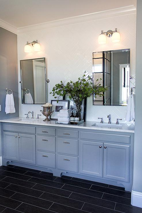 Bathroom With White Subway Tile Herringbone Tile Backsplash